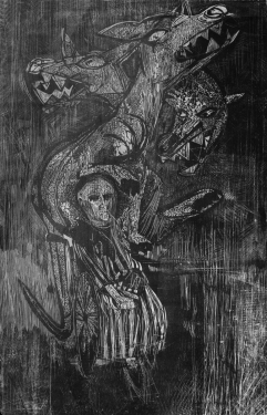 Donald Axleroad <i>The Human Condition</i> woodcut
