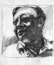 Don Keene Portraits Charcoal and oil medium on cardboard