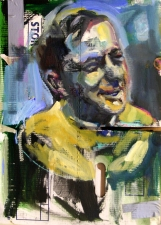 Don Keene Portraits Oil and collage on folded cardboard