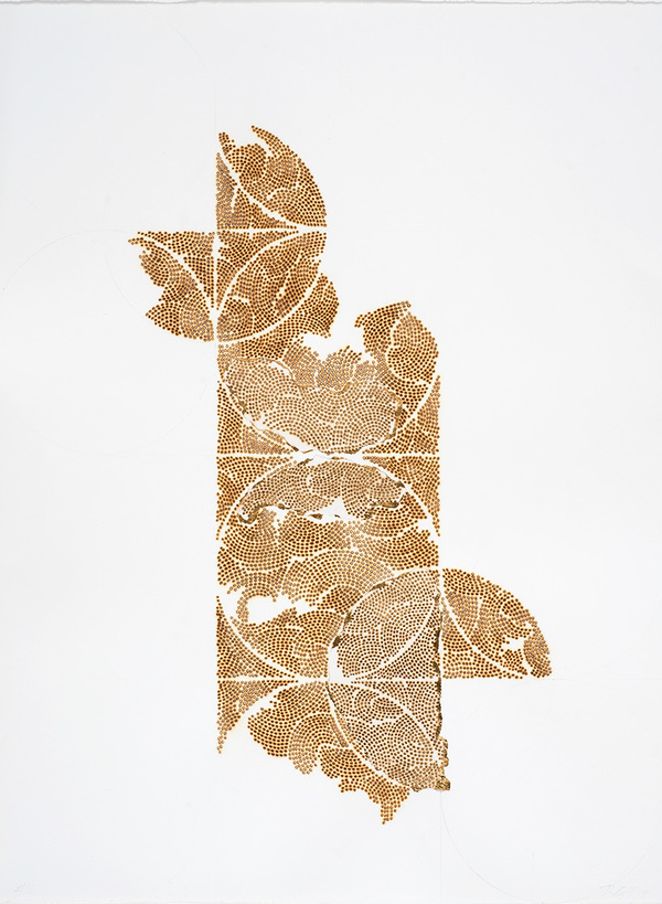 Frieze series, burn and gold leaf Frieze 15