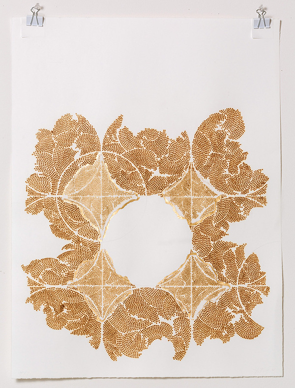 Frieze series, burn and gold leaf Frieze 17