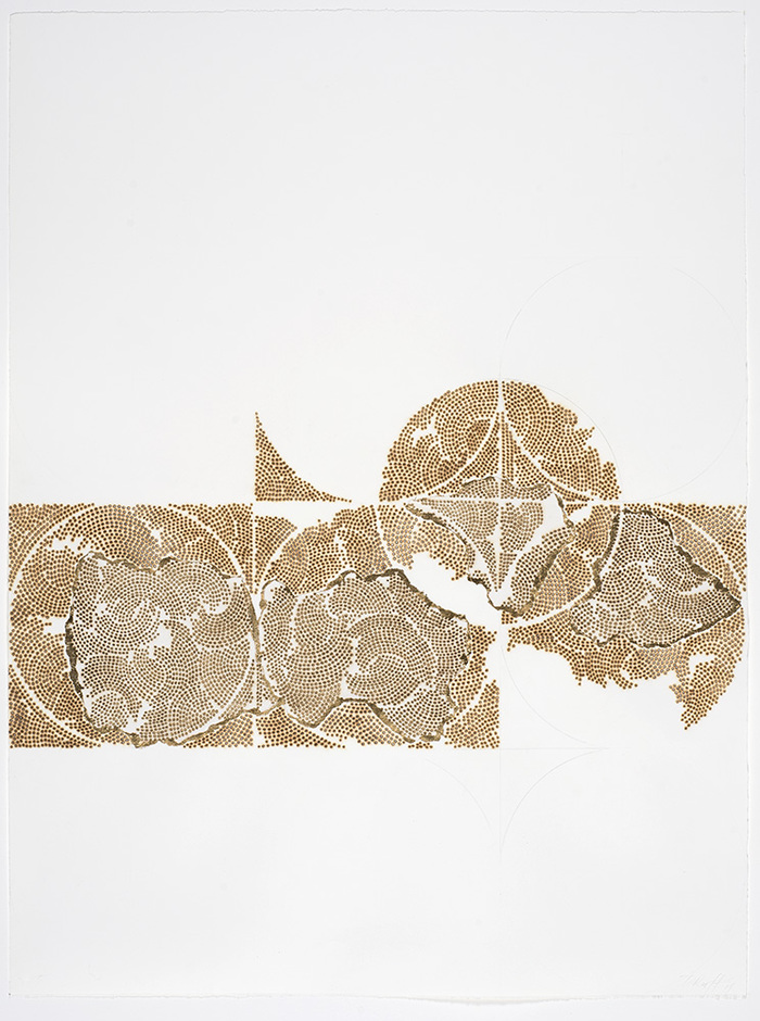Frieze series, burn and gold leaf Frieze 16
