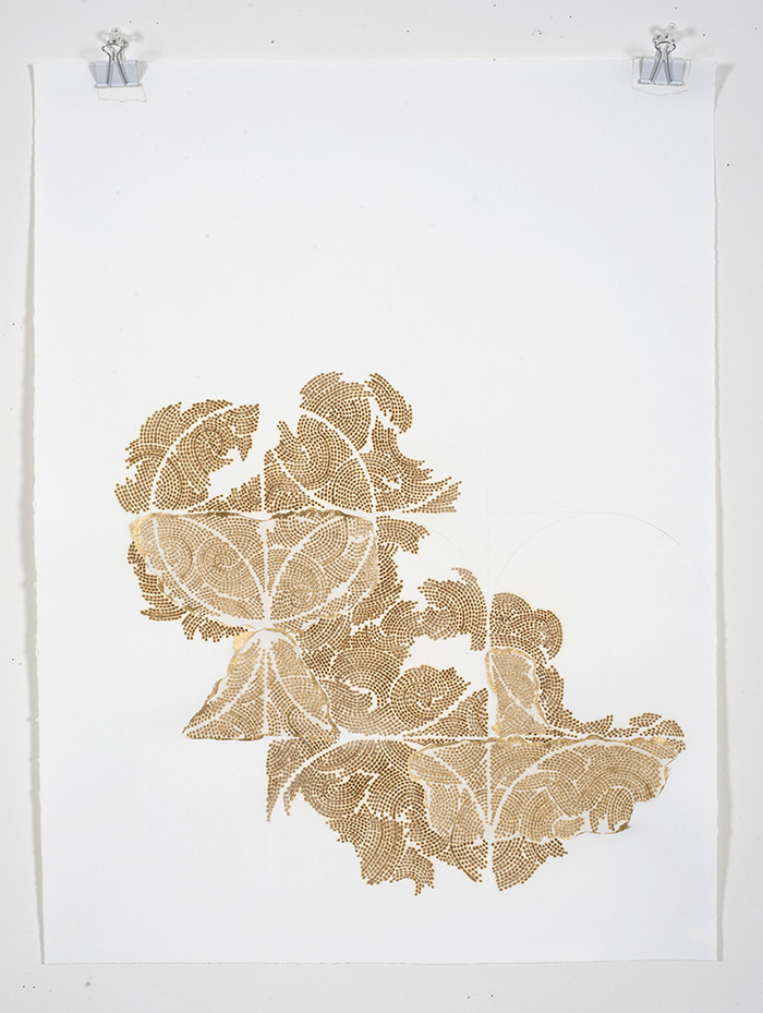 Frieze series, burn and gold leaf Frieze 26