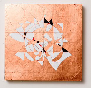 Copper leaf paintings Incised copper leaf and Flashe on panel
