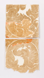 Copper leaf paintings Burn and copper leaf on handmade paper