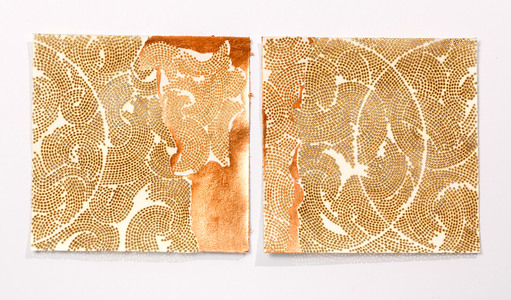 burning and gilding Burn and copper leaf on handmade paper