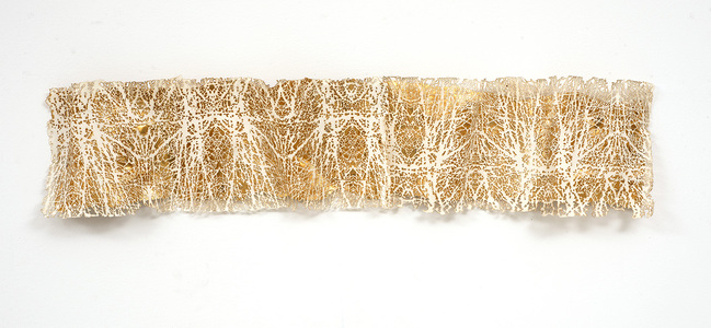 Frieze series, burn and gold leaf Burn on paper, gold leaf, mylar