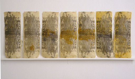sculpture and installation Lithographs, shellac and wax on handmade paper, wood