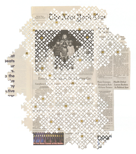 cut newspaper Cut newspaper, gold leaf