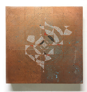 Copper leaf paintings Flash on copper leaf on panel
