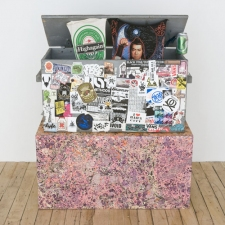 donovan barrow paintings and mixed media found wood chest with stickers and banners acrylic on artist-made pedestal with beer can
