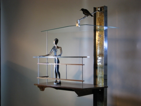 Edwin Salmon Narrative works Metal, wood, glass, european starling and multi flora rose bush