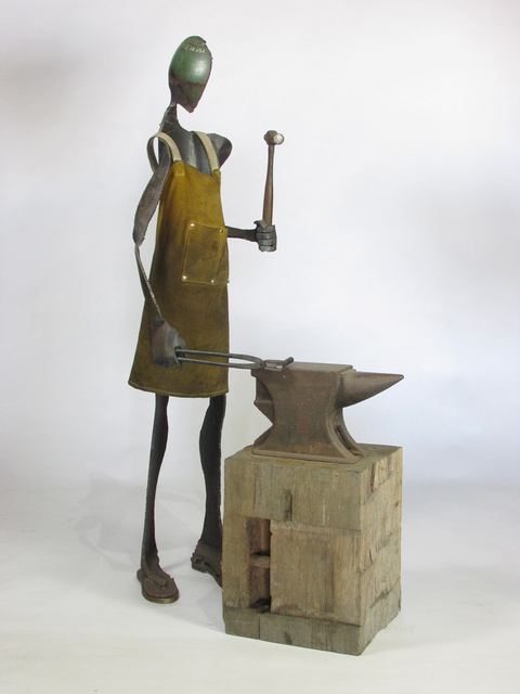 Edwin Salmon Figurative Sculpture Repurposed Steel, Leather Apron, Anvil, Hammer and Wood