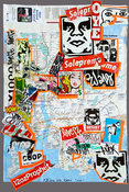 EGON ZIPPEL Devandalizing  Paraphernalia  Stickers on New York subway map