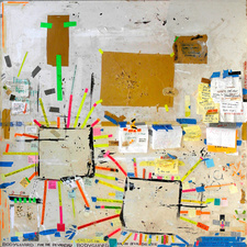 EGON ZIPPEL On Location Salvaged signage on cardboard, tape and post-its, bird products on used floor protection boards
