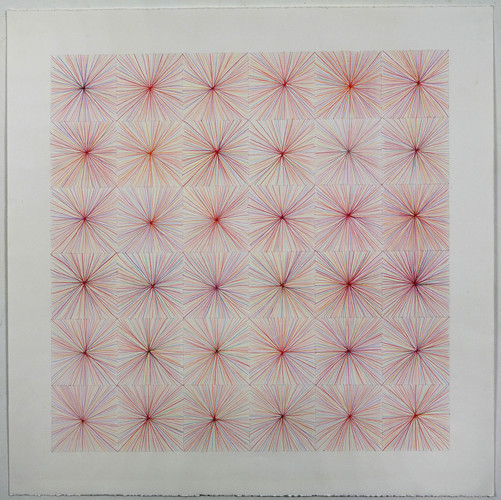 Eileen Hoffman STITCH WEAVE X 9 colored pencil on paper