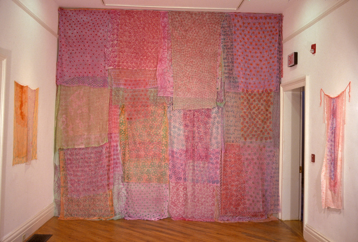Eileen Hoffman THE PINK ROOM mixed media on fabric