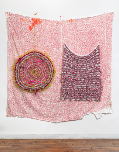 Eileen Hoffman HER MOTHER'S DISHES chenille pipe cleaners, fabric, yarn, markers
