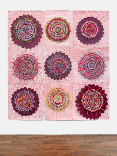 Eileen Hoffman HER MOTHER'S DISHES chenille pipe cleaners, fabric, yarn, tyvek, markers