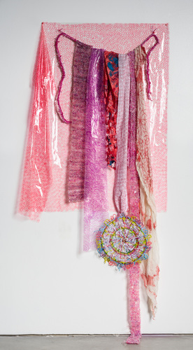 Eileen Hoffman HER MOTHER'S DISHES chenille pipe cleaners, fabric, yarn, vinyl