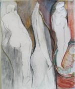 Eileen Mislove Figures - Mixed Media Oil Pastel and Pencil on Paper