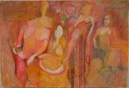 Eileen Mislove Figures - Mixed Media Oil Pastel on Paper