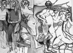 Eileen Mislove Figures - B/W Drawings Acrylic on Paper