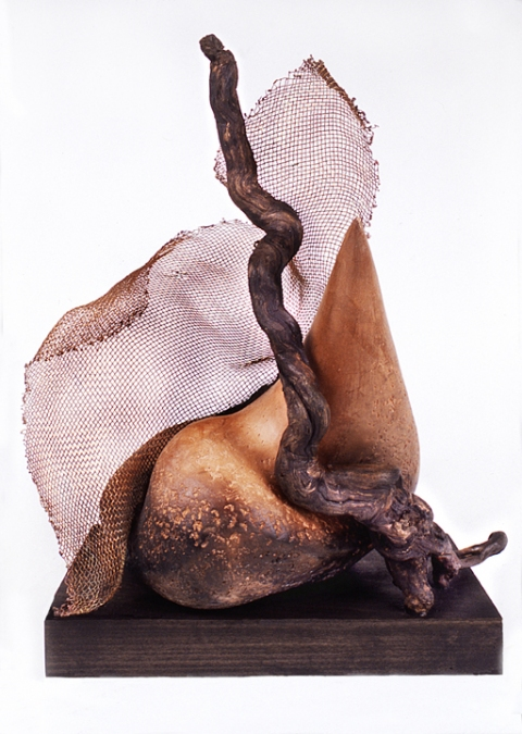 Elaine Lorenz ARCHIVE - Mixed Media Copper Mesh, Smoke fired Terra Cotta, Wood