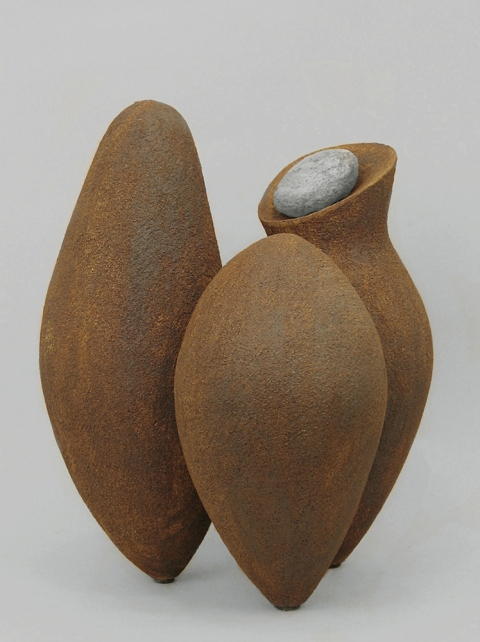 Elaine Lorenz Birds of a Feather Ceramic, oxide stain, stone