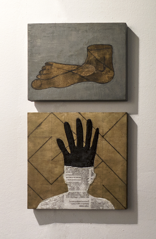 Eleni Mylonas  Art Athina,Francoise Heitsch Gallery Munich encaustic and graphite on wood and pyrography on wood