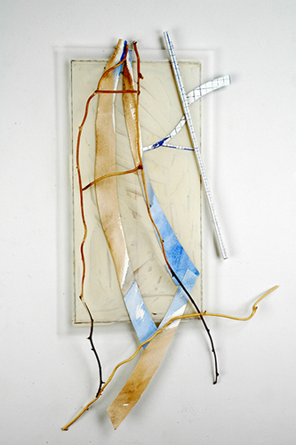 ELISABETH  MUNRO  SMITH STICKS AND TRACKS Wood, bittersweet vine, paper, Mylar, paint