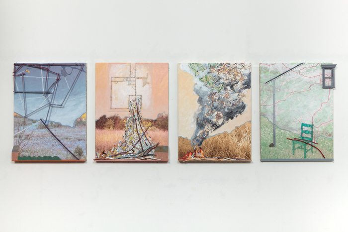 ELISABETH  MUNRO  SMITH MAPS AND PLACES Wood, photographs, acrylic paint, hardware on Masonite