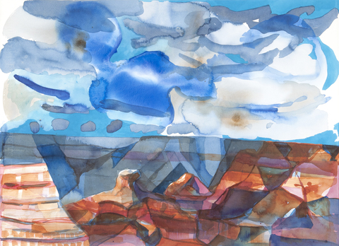 Grand Canyon/Wupatki Watercolor: 2013-4 Slipping Cheops Pyramid