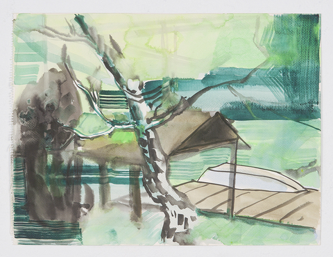 Loleta, CA. Watercolor: 2014 Lake, Study Two