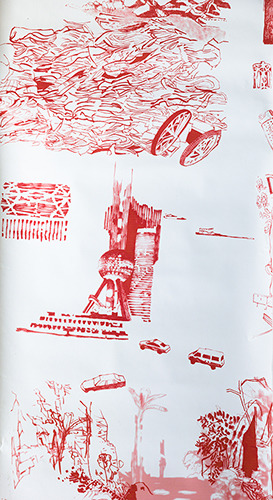Notes from Shanghai Toile Wallpaper