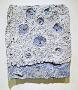 Elisa D'Arrigo Folded and Sewn Paper Works handmade paper, thread, marble dust, acrylic paint, pigments