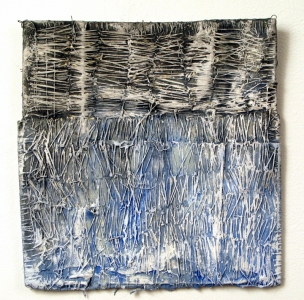 Elisa D'Arrigo Folded and Sewn Paper Works paper, thread, acrylic paint, marble dust