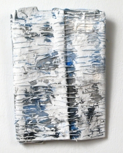 Elisa D'Arrigo Folded and Sewn Paper Works paper, thread. acrylic paint, marble dust