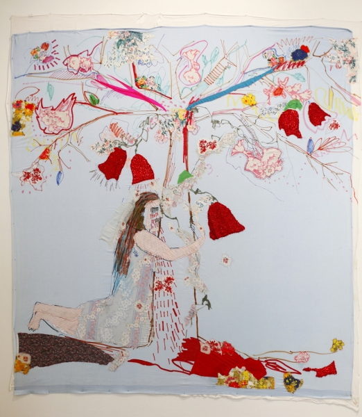 TEXTILE/COLLAGE Rayen, sewing and drawing fabric collage on queen sheet, 2012, 8 x 9 feet