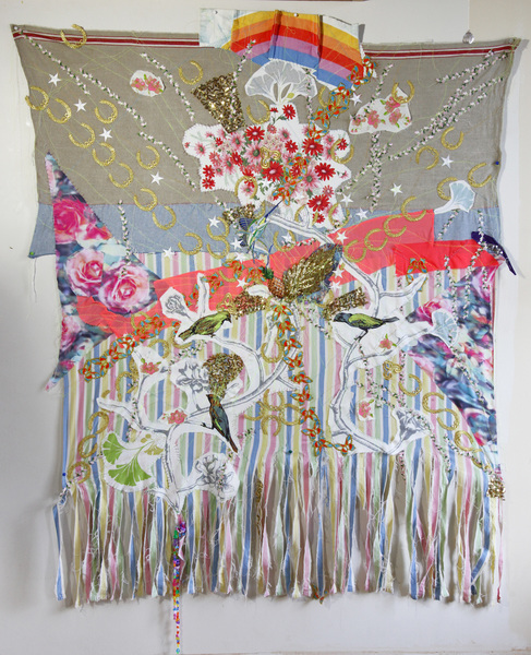 TEXTILE/COLLAGE Piña nest banner mandala 55 inches weigh x 65 inches height Multimedia sewing collage on fabrics 2014