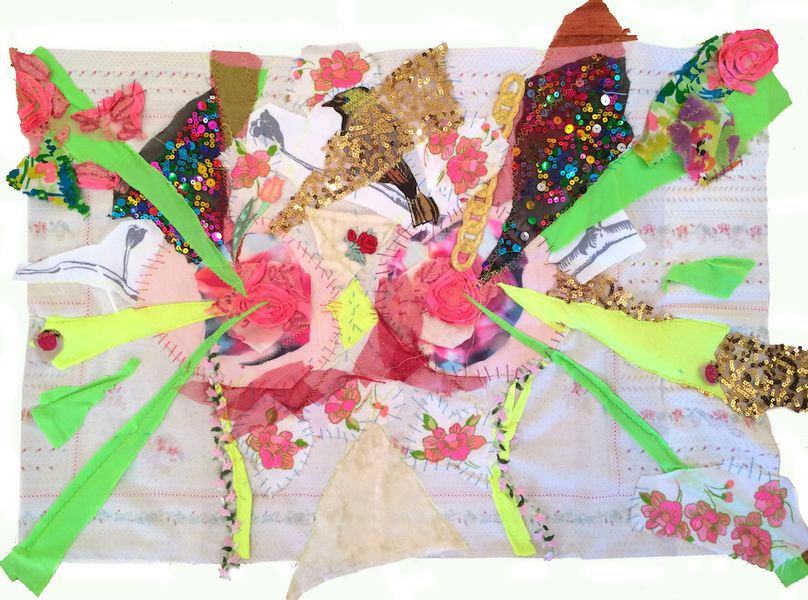 TEXTILE/COLLAGE Anthena Nipples sewing and drawing fabric collage on pillowcase 33 x 21 inches 2014
