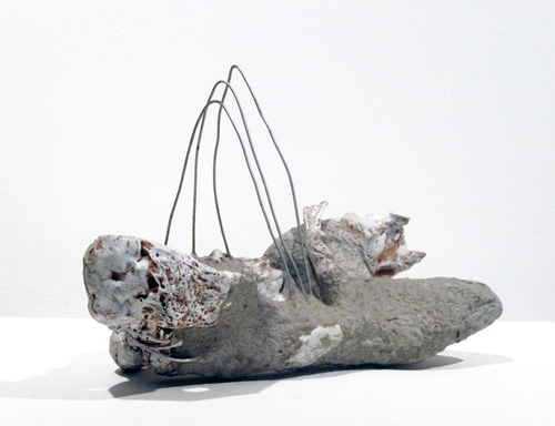 Selected Small Sculptures: The Queries papier mache, scupey, metal, paint, acrylic medium