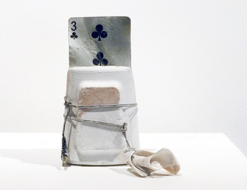 Selected Small Sculptures: The Queries cast plaster, card (found on Montauk beach) metal, plastic, shell paint