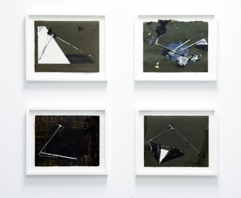 Elisa Lendvay Studio Selected Works on Paper acrylic, pencil, metal, thread, paper, file folder paper