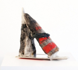 Elisa Lendvay Studio Force of Things Charred wood, papier machie, steel, mirror, acrylic paint