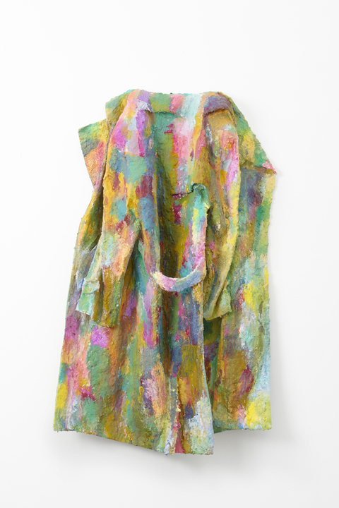 Elisa Soliven / Found coat, pigment, tempera, acrylic paint, plaster, paper mache