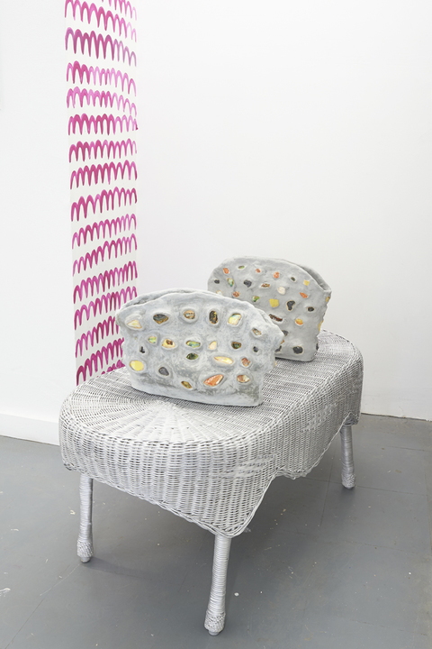 Elisa Soliven  Work Glazed ceramic, wicker table, acrylic paint
