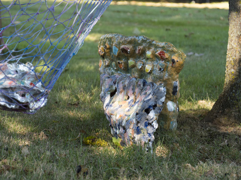 Elisa Soliven  Work Glazed ceramic, aluminum leaf, hammock, paper cache, rope, acrylic and paint.