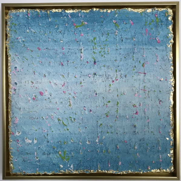 PAINTINGS Blue Confetti Framed