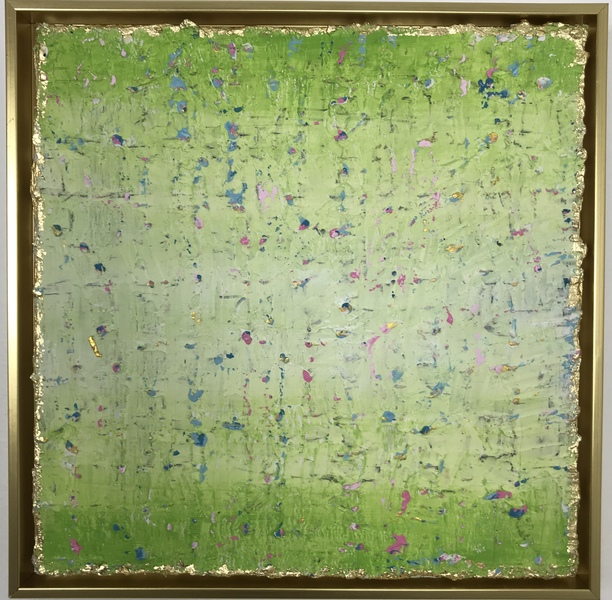 PAINTINGS Green Confetti Framed